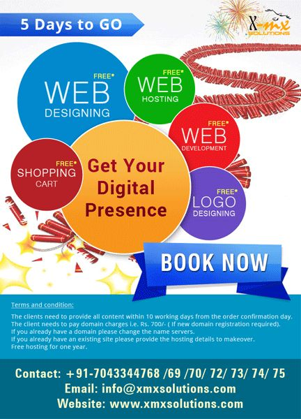5 Days to go for getting your digital presence absolutely  free #webdesigning #hosting #logodesigning #shopping #cart #webdevelopment #book your #order now #xmxsolutions http://xmxsolutions.com/