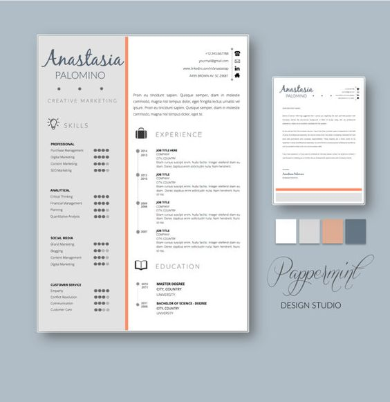 resume template with cover letter for word with timeline