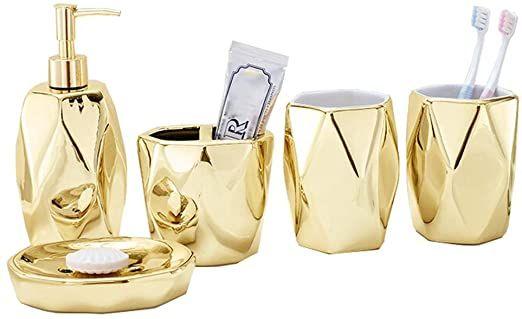 Bathroom Set Bathroom Accessories Gold Plated Ceramic 5 Piece Kit Toothbrush Holder Liquid Disp Gold Bathroom Decor Bathroom Accessory Set Bathroom Decor Sets
