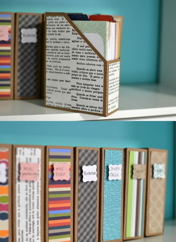 7 Upcycled DIY Ideas to Decorate a Tween or Teen Girl's Bedroom! Lots of cool ideas. Like this for document storage on a bookshelf.: