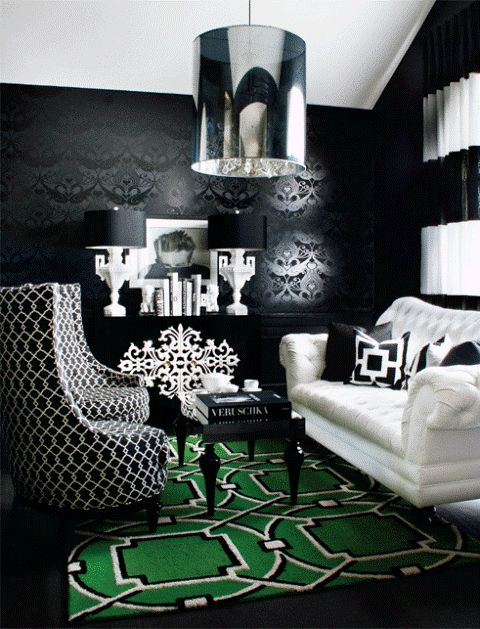 Styl glamour; glamour style; glamour interior; old Hollywood style; salon; living room