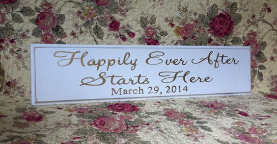 Happily Ever After Starts Here  (with or without date) YOUR COLOR by EverydayCookies