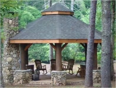 Love this rustic style gazebo with its large fireplace outdoor fireplaces pinterest - Outdoor gazebo plans with fireplace ...