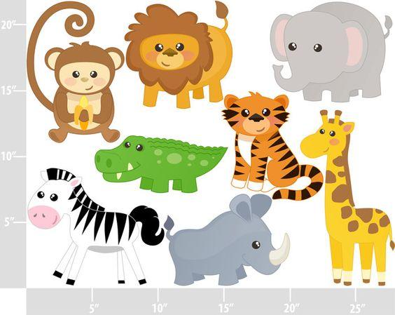 Cute Jungle Animals - Digital Clip Art - Personal and Commercial Use - safari animals lion tiger ...