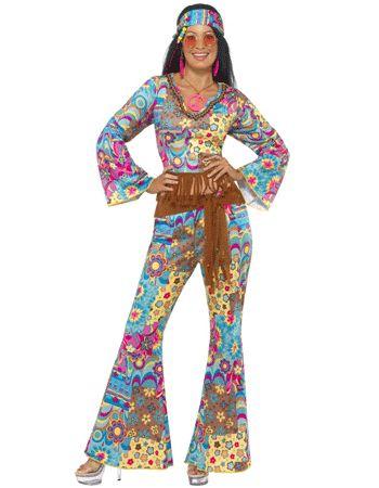 Gekleurde flower power kleding voor dames. Deze vrolijk gekleurde flower power kleding bestaat uit een broek met wijduitlopende pijpen, een korte top met lange mouwen, bruine riem en de haarband. De broek en de top hebben een flower power print in verschillende kleuren. Verder in de webshop staan meer jaren '60 en hippie outfits. Materiaal: 100% polyester. Carnavalskleding 2015 #carnaval