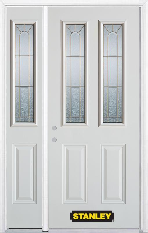 48 25 Inch X 82 375 Inch Elisabeth Brass 2 Lite 2 Panel Prefinished White Right Hand Inswing Steel Prehung Front Door With Sidelite And Brickmould Garage Door Design Diy Garage Door Glass Bathroom