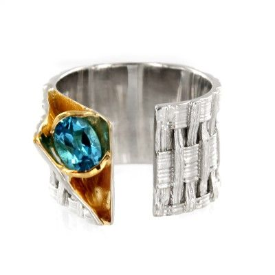 Sterling Silver and Vermeil Oval Blue Topaz Weave Ring by Marija $265.00 #jewelry