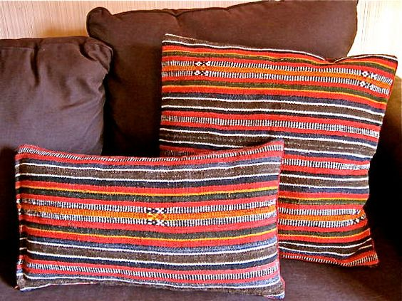 Striped Vintage Mexican horse blanket accent pillow. $40.00, via Etsy.