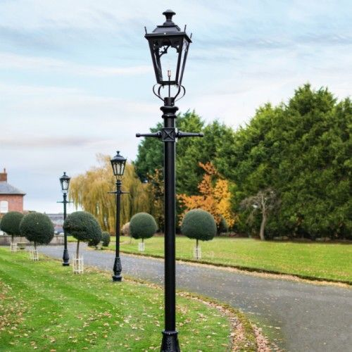 Black Gothic Lamp Post Lantern Set 3 25m Lantern Set Garden Lamp Post Lantern Post