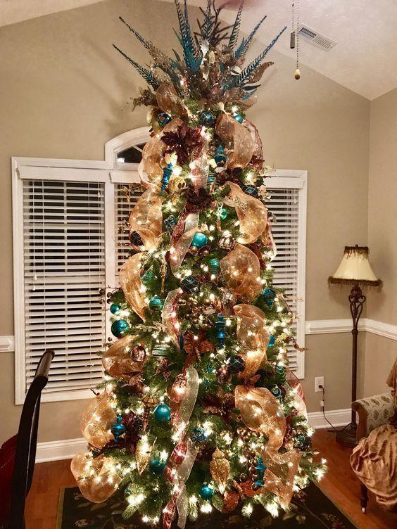 Malla Dorada Para Arboles Navidenos Ideas Para Arboles De Navidad Arboles De Navidad Elegantes Pinos De Navidad