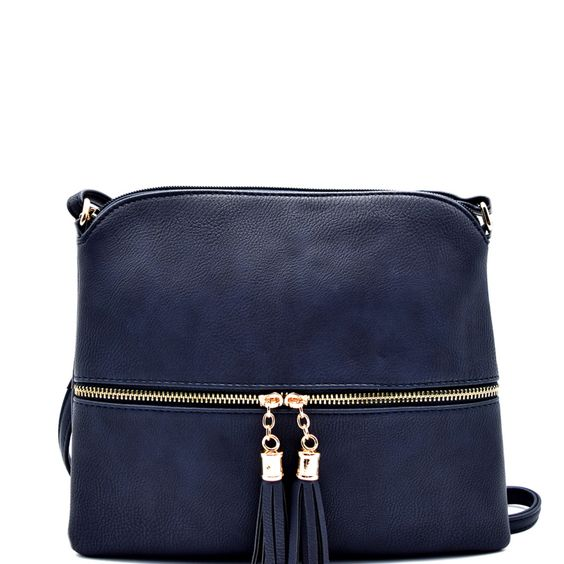 HY2038 Front Pocket Tassel Accent Cross Body Navy