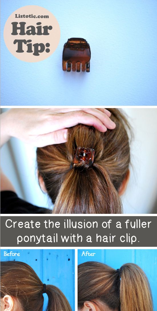 For a fuller looking ponytail separate half of your hair from your ponytail then put in the clip and let the top half of your hair cover it!