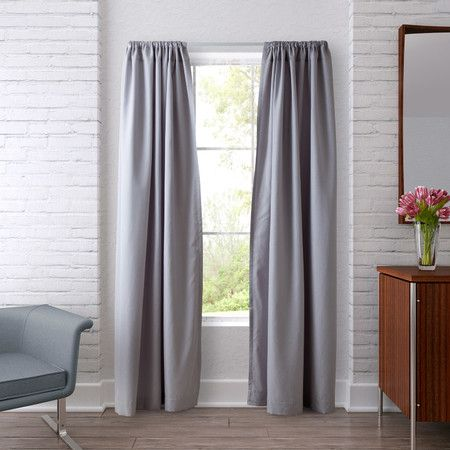 Shimmer Rod Pocket Curtain Panel in Silver Gray (Set of 2)