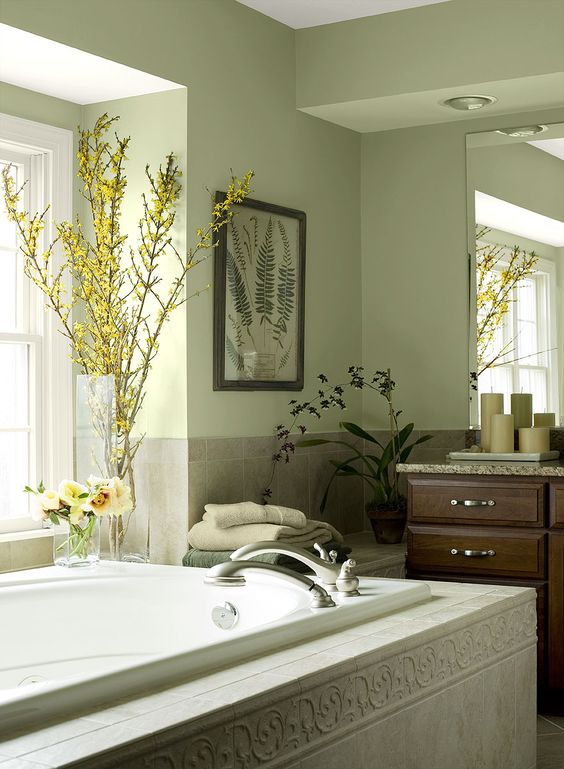 Bathroom Ideas Inspiration Green Wall Color Light