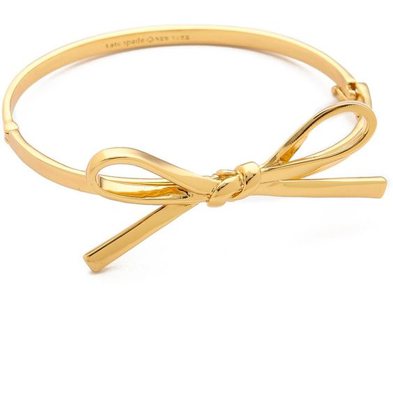 Kate Spade New York Skinny Mini Bow Bangle Bracelet ($54) ❤ liked on Polyvore featuring jewelry, bracelets, accessories, rings, bijoux, gold, kate spade bracelet, yellow gold bracelet, gold jewelry and gold bangle bracelet
