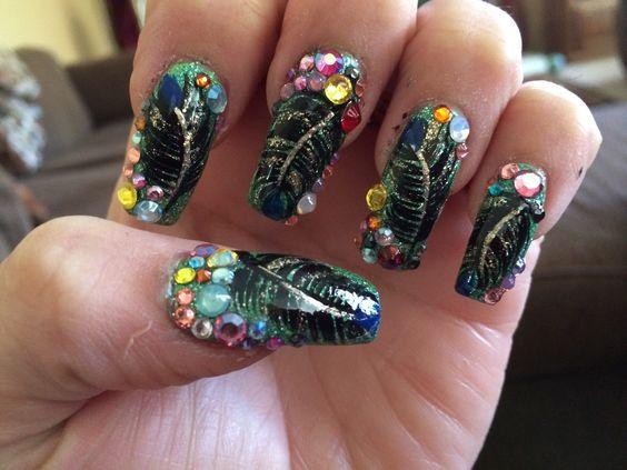 Crazy peacock nails