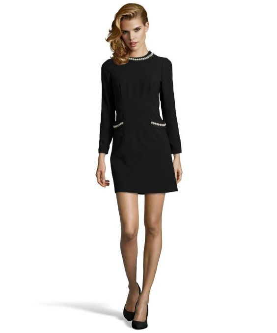 JILL Jill Stuart : black embellished trim woven a-line dress : style # 352708401
