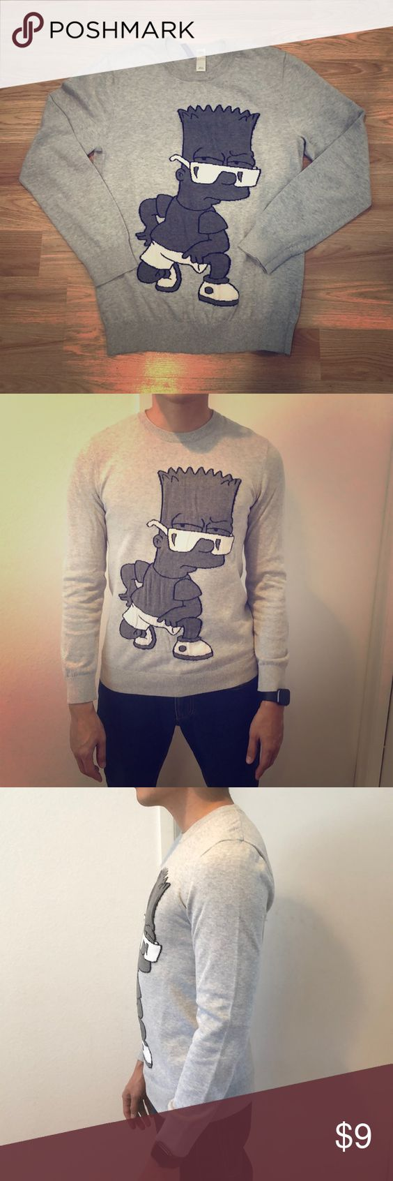 Bart Simpson Sweater Bart Simpson Crew Neck Sweater There Is A Stain In Barts Glasses See Picture 5 For Close Up H M Sweaters Clothes Design Fashion Sweaters [ 1692 x 564 Pixel ]