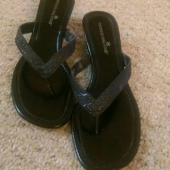"Black sandals 2"" black thong sandals. Barely worn Shoes Sandals"