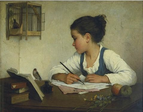 A Girl Writing ~ Henriette Browne 1870
