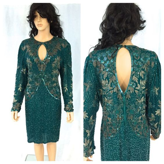 Vintage Teal Green Beaded Dress. X-Large. Long by NicoleNicoletta