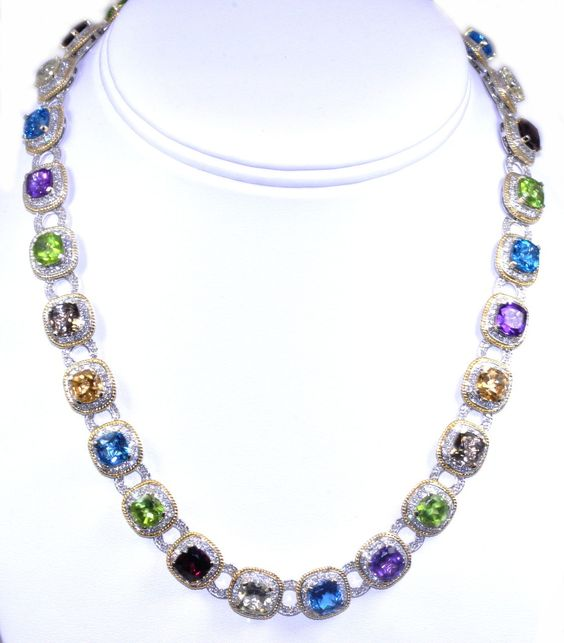 This is a beauty! 14k yellow gold multicolor stone necklace #multicolor #stone #gold #necklace #giftideas #beautiful #design #wow