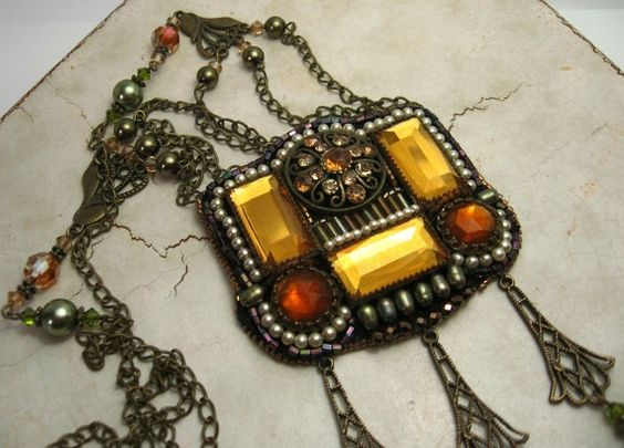 Beadwork Necklace Vintage Style Antique Brass Chain Fall Colors Beaded Jewelry Repurposed Upcycled 'The Diva'. $119.00, via Etsy.