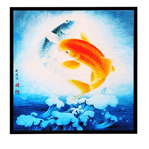 INK WASH Pictures of 2 Lucky Feng Shui Carp Koi Fish Painting Oriental Gifts Wood Framed Wall Art Painting for Home Decoration Living Room Office Decor 13x13