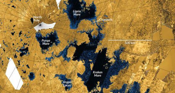 نقشه رادار از کاسینی که Kraken Mare و سایر دریاها و دریاچه های اطراف تیتان را نشان می دهد. تصویر از طریق JPL-Caltech / NASA / ASI / USGS / Science News.