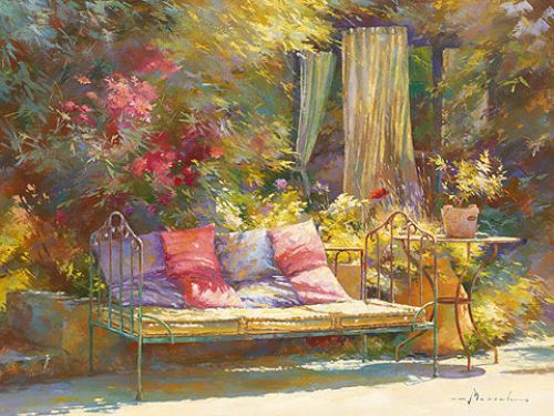 Johan-Messely-Repos-au-regalido-Fertig-Bild-30x40-Garten-Idylle-Romantik