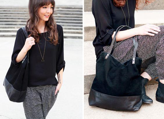 """Handtasche - Echtleder Beutel // Shopper Tasche """"Manoo&... - ein Designerstück von pikfine bei DaWanda"""
