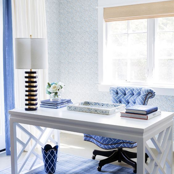 Blue and white home office featuring a white chinoiserie desk, the Bungalow 5 Bell Desk. Waterleaf Interiors.: