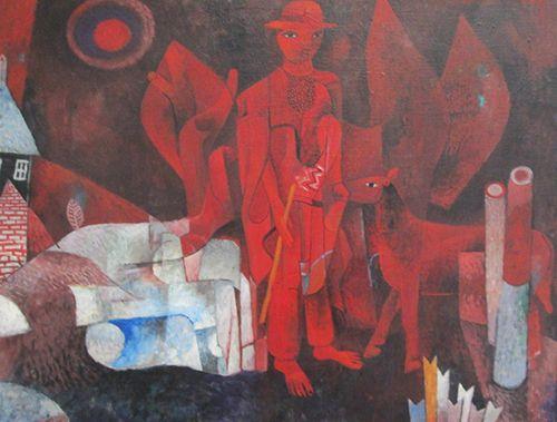 Heinrich Campendonk, Roter Hirte mit Tieren, 1928