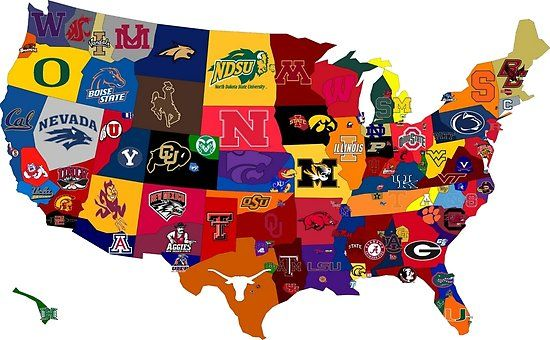 College Country Poster By Tiltedgiraffes College Football Map College Football Teams College Football Fans