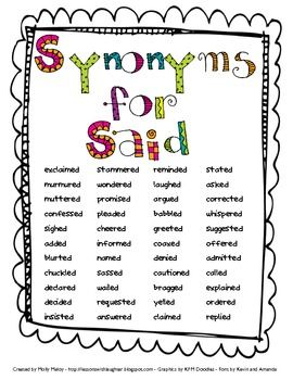 Worksheets Synonyms List For Kids synonyms words list for kids reocurent the and said is dead on pinterest