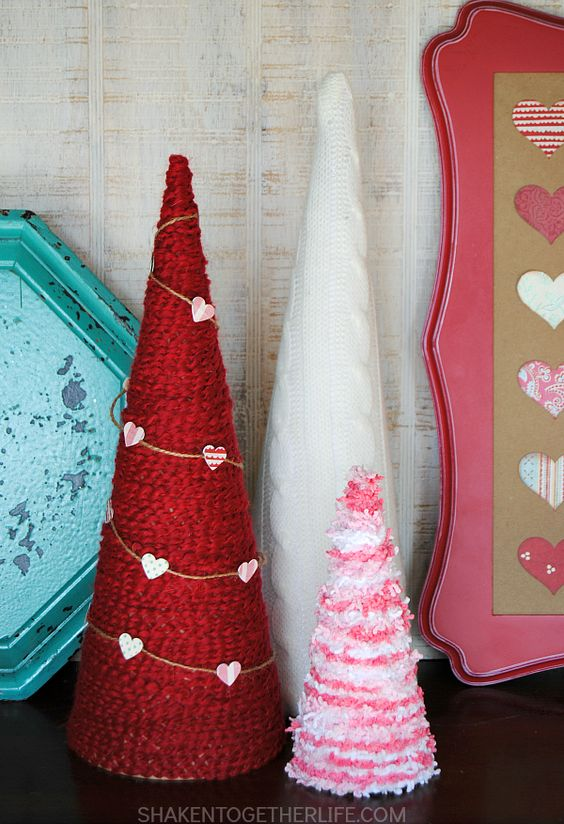 Valentine Yarn Wrapped Trees - love the colors and textures of that yarn! Perfect for a Valentine mantel or vignette!