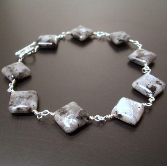SS Larvikite Bracelet - Reiki Charged, Larvikite Bracelet, Wire Wrapped Bracelet, Gray Stone Bracelet, Gray Gemstone Bracelet, Shimmer Stone #reikijewelry #handcraftedjewelry