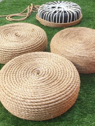 DIY rope ottomans: http://www.stylemepretty.com/living/2015/07/22/diy-rope-ottomans/: