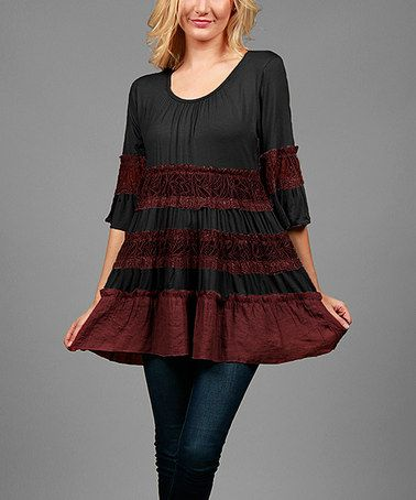 Another great find on #zulily! Black & Burgundy Lace-Accent Ruffle Tunic - Plus #zulilyfinds
