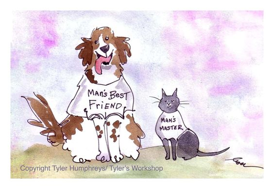 Funny Cat and Dog Card Pets Cartoon Illustration by tylersworkshop. $3.50, via Etsy.
