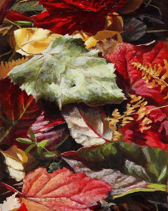 Red Autumn - Wasilla Leaves ...  Painting by Karen Whitworth