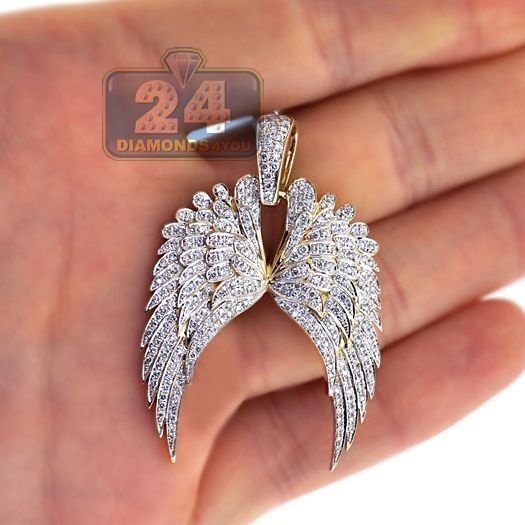 Mens 1 25 Carat Diamond Double Angel Wings Pendant 10k Yellow Gold Mens Diamond Jewelry Wing Pendants Gold Pendant Jewelry
