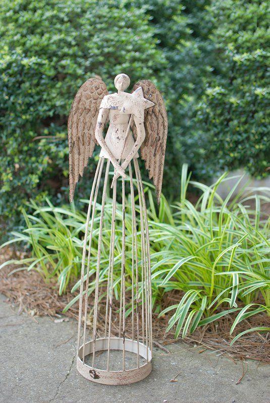 Antiqued Metal Garden Angel Statue Patio Lawn Yard Indoor Outdoor Decorations