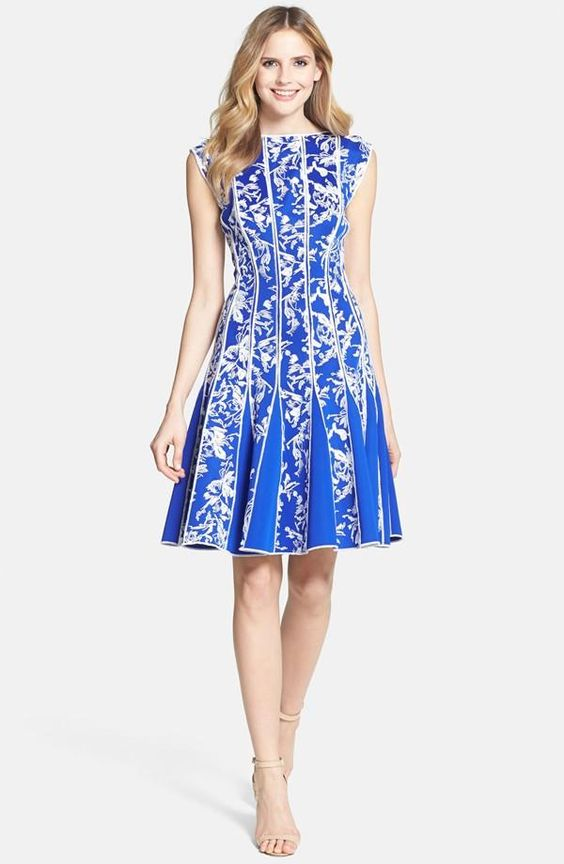 Tadashi Shoji Embroidered Neoprene Fit & Flare Dress