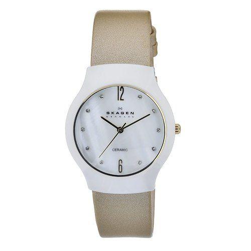 $55 Skagen Women's 817SWLTC Quartz Ceramic Mother Of Pearl Dial Watch | eBay #Skagen #watch