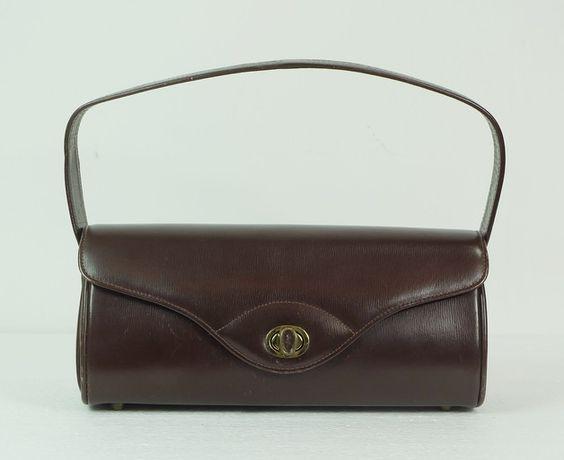 Querformatige 40er 50er Vintage Handtasche braun