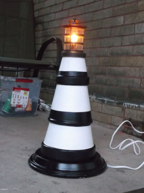 Lighthouse with Terra Cotta pots