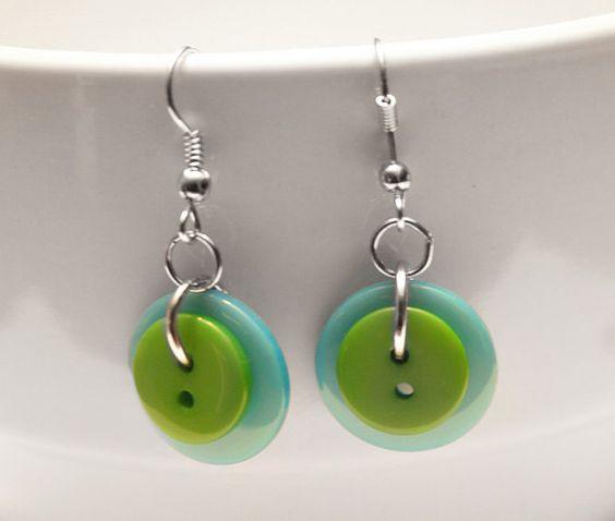 Dangle Button Earrings  Blue Green by DesignShoppe on Etsy, $10.00