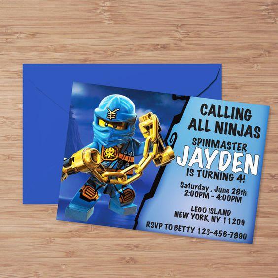 Lego Ninjago Birthday Party Google Search: Lego Ninjago Verjaardagsuitnodiging, Ninjago Verjaardag
