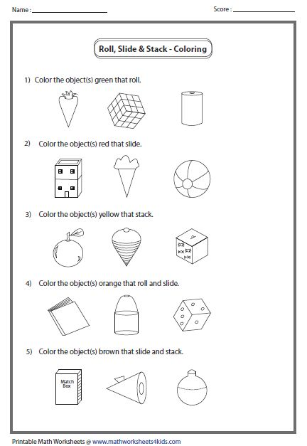 math worksheet : roll slide or stack  3 dimensional solid shapes  pinterest  : Shapes Math Worksheets
